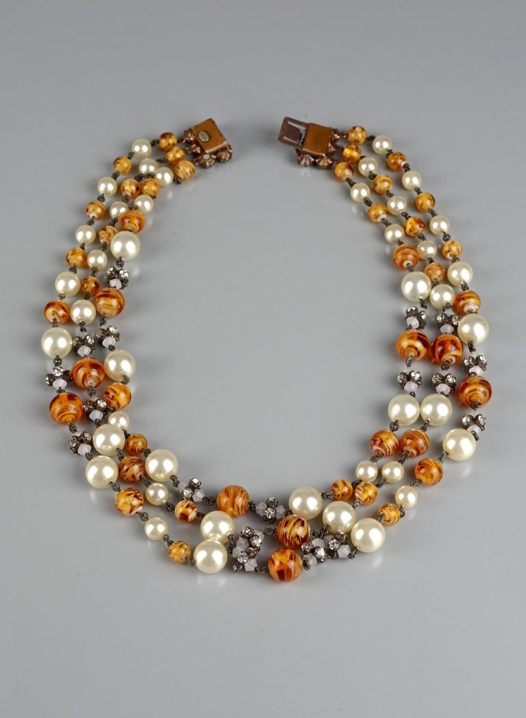 Women's Vintage 1960 CHRISTIAN DIOR Triple Strand Amber Glass and Pearl Necklace For Sale