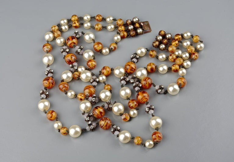 Vintage 1960 CHRISTIAN DIOR Triple Strand Amber Glass and Pearl Necklace For Sale 1