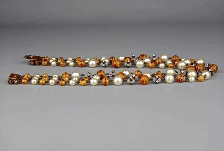 Vintage 1960 CHRISTIAN DIOR Triple Strand Amber Glass and Pearl Necklace For Sale 2