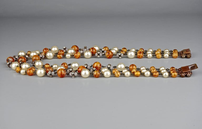 Vintage 1960 CHRISTIAN DIOR Triple Strand Amber Glass and Pearl Necklace For Sale 3