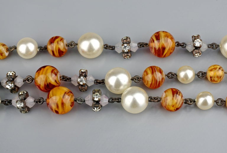Vintage 1960 CHRISTIAN DIOR Triple Strand Amber Glass and Pearl Necklace For Sale 4