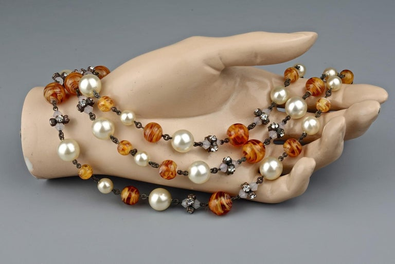 Vintage 1960 CHRISTIAN DIOR Triple Strand Amber Glass and Pearl Necklace For Sale 5