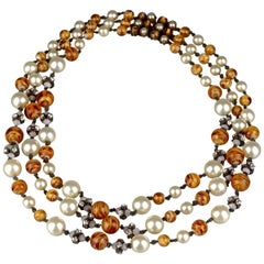 Vintage 1960 CHRISTIAN DIOR Triple Strand Amber Glass and Pearl Necklace
