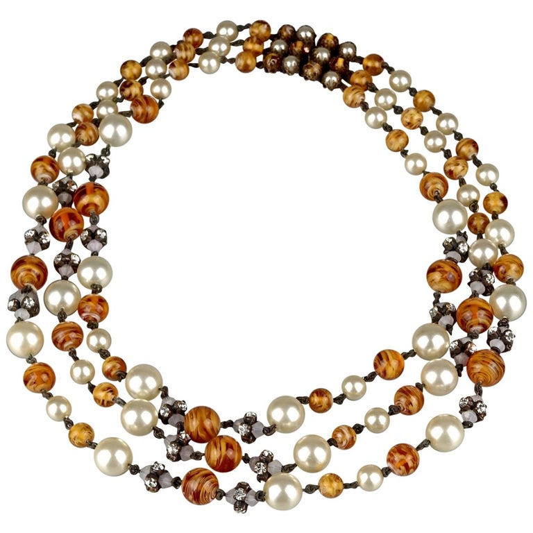Vintage 1960 CHRISTIAN DIOR Triple Strand Amber Glass and Pearl Necklace For Sale