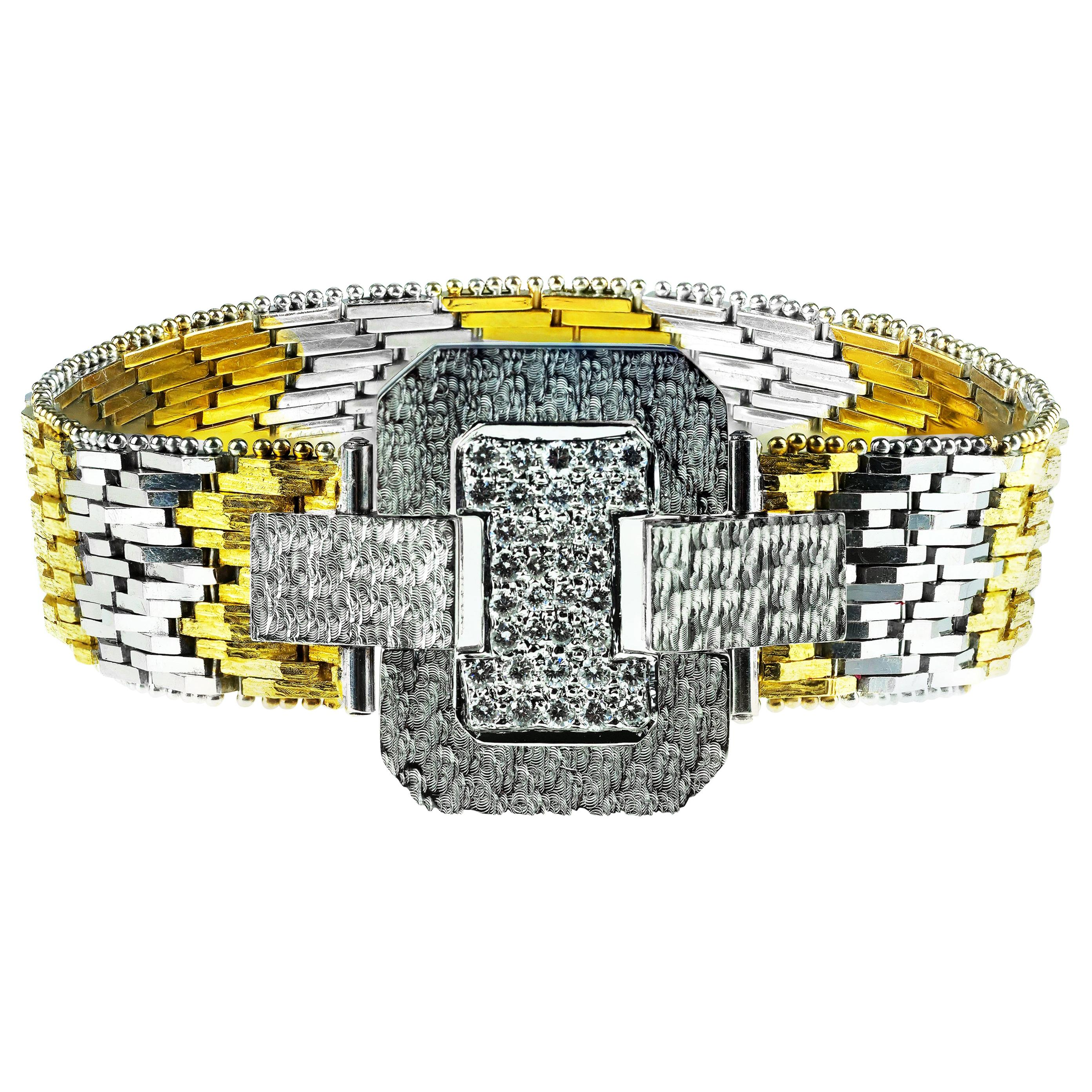 Vintage 1960 Diamond Buckle Bracelet in 18 Karat White and Yellow Gold