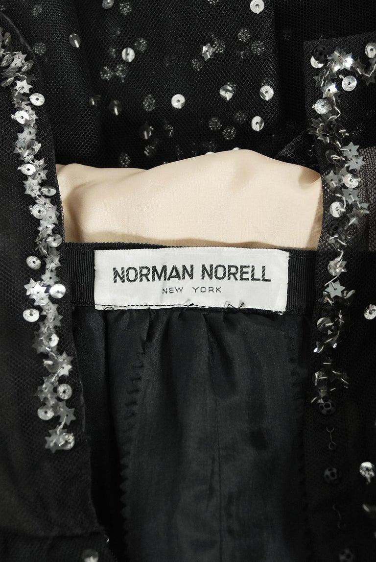 Vintage 1960 Norman Norell Sequin Star Novelty Black Sheer Illusion Tulle Gown For Sale 7