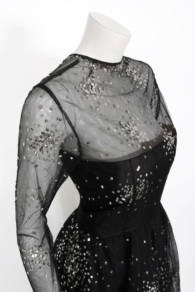 Vintage 1960 Norman Norell Sequin Star Novelty Black Sheer Illusion Tulle Gown In Good Condition For Sale In Beverly Hills, CA