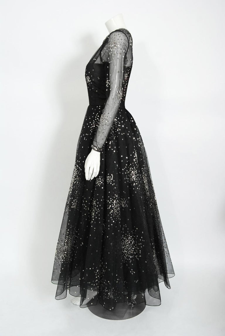 Vintage 1960 Norman Norell Sequin Star Novelty Black Sheer Illusion Tulle Gown For Sale 1