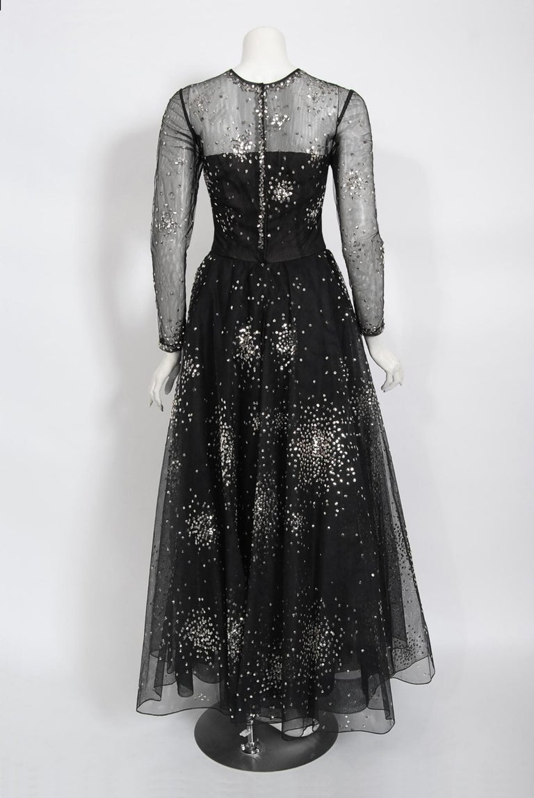 Vintage 1960 Norman Norell Sequin Star Novelty Black Sheer Illusion Tulle Gown For Sale 5