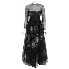 Vintage 1960 Norman Norell Sequin Star Novelty Black Sheer Illusion Tulle Gown