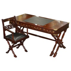 Vintage 1960 Solid Timber Brass Inlaid Trestle Campaign Desk & Chair Office Set
