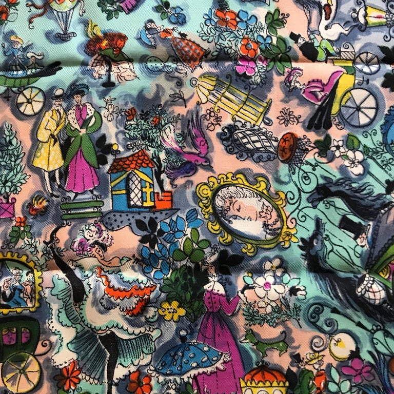 Vintage 1960 Swiss made silk scarf with an artistic overall pattern with romantic Edwardian scenes . In very good condition.