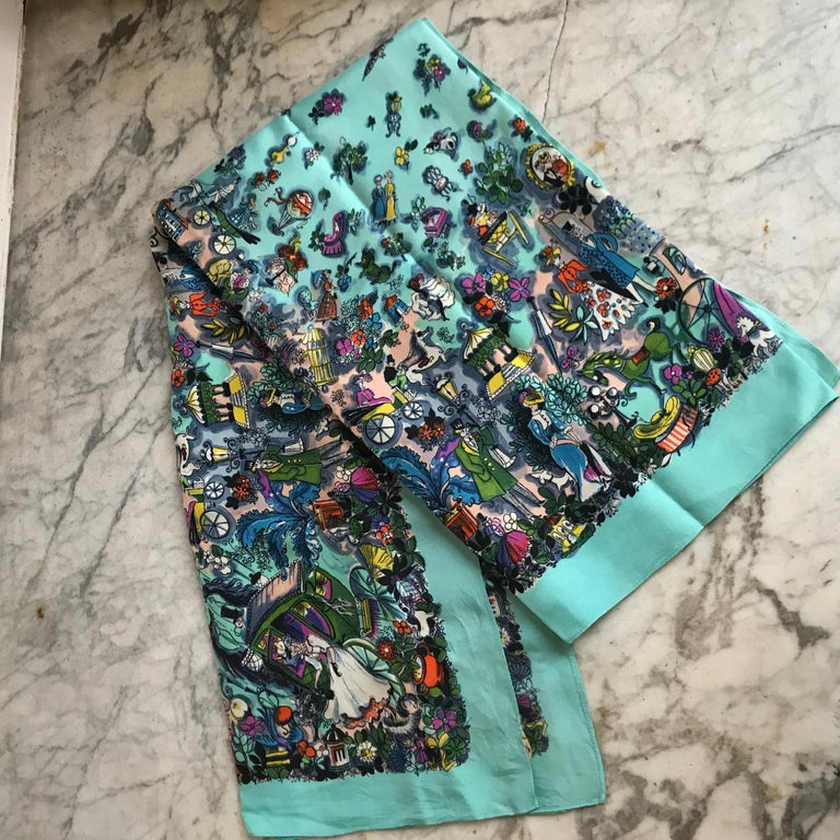 Vintage 1960 Turquoise Silk Scarf With Romantic Edwardian Design For Sale 3