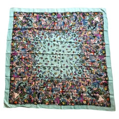 Vintage 1960 Turquoise Silk Scarf With Romantic Edwardian Design