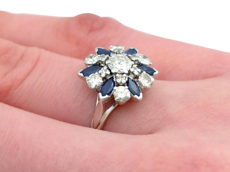Vintage 1960s 1.10 Carat Sapphire 1.20 Carat Diamond Gold Cluster Ring For Sale 4