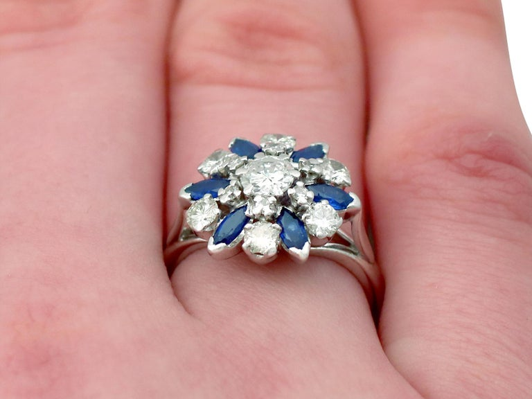Vintage 1960s 1.10 Carat Sapphire 1.20 Carat Diamond Gold Cluster Ring For Sale 5