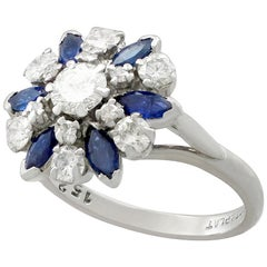 Vintage 1960s 1.10 Carat Sapphire 1.20 Carat Diamond Gold Cluster Ring