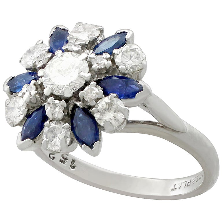 Vintage 1960s 1.10 Carat Sapphire 1.20 Carat Diamond Gold Cluster Ring For Sale