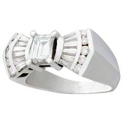 Vintage 1960s 1.36 Carat Diamond White Gold Cocktail Ring