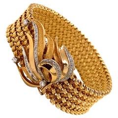 Vintage 1960s 14 Karat Gold Wide Woven Link Bracelet with Diamond Leaf Clasp