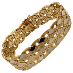 Vintage 1960s 14 Karat Two-Tone Gold Wide Retro Bracelet