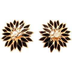 Vintage 1960s 14 Karat Yellow Gold Diamond and Black Enameled Earrings