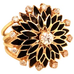Vintage 1960s 14 Karat Yellow Gold Diamond and Black Enameled Ring