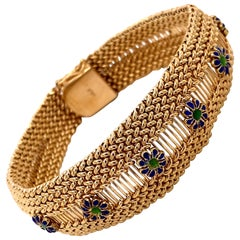 Vintage 1960s 14 Karat Yellow Gold Mesh Bracelet with Enamel Flowers