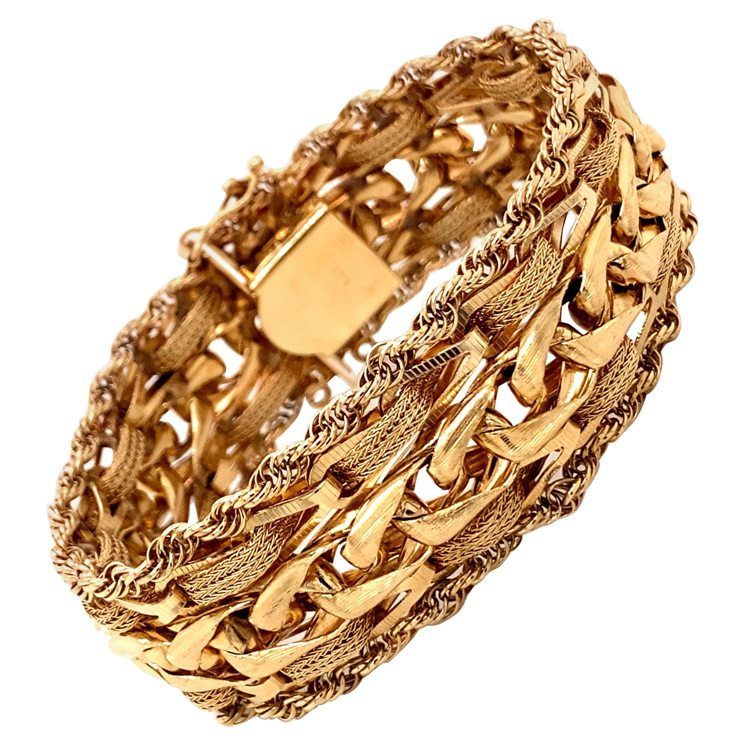 1960s 14 Karat Yellow Gold Woven Wheat Link with Rope Edge Wide Charm Bracelet