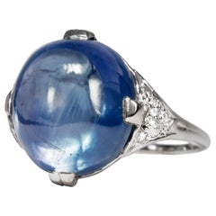 Vintage 16.00 Carat Certified Natural Blue Sapphire White Gold Cocktail Ring