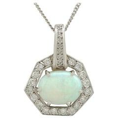 Vintage 1960s 1.65 Carat Opal Diamond White Gold Pendant