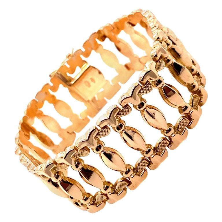 Vintage 1960s 18 Karat Rose Gold Retro Wide Link Bracelet For Sale
