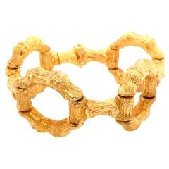 Vintage 1960s 18 Karat Yellow Gold Bamboo Link Wide Bracelet