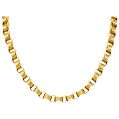 Vintage 1960s 18 Karat Yellow Gold Large Linked Rolo Chain Necklace
