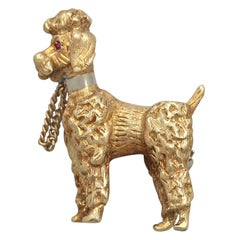 Vintage 1960s 18 Karat Yellow Gold 'Poodle' Brooch