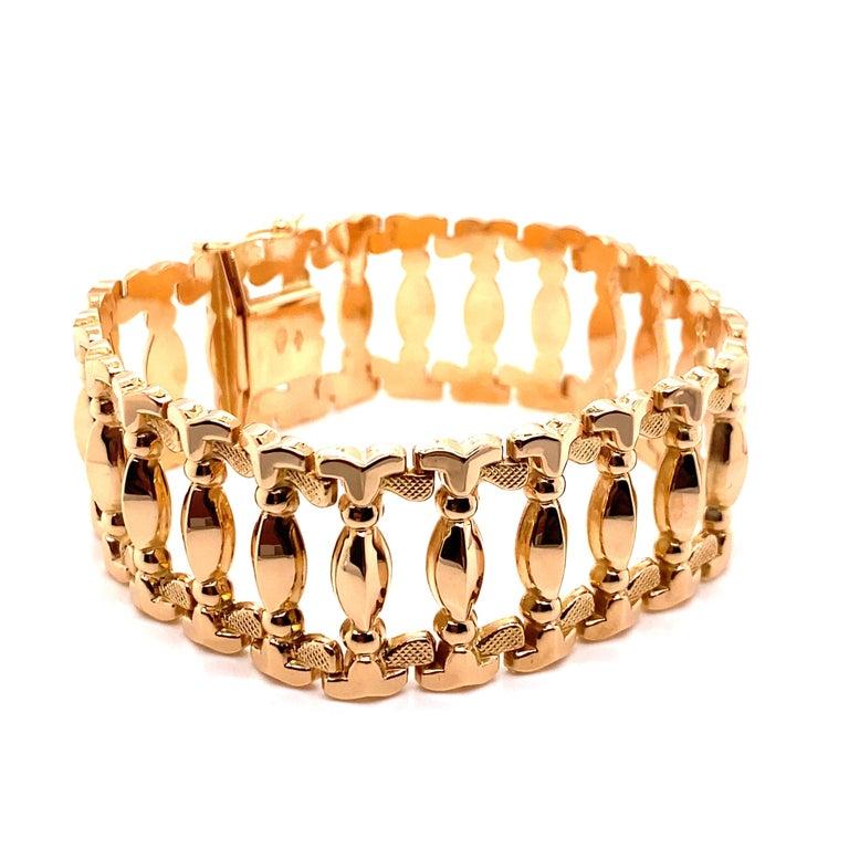 Women's Vintage 1960s 18 Karat Rose Gold Retro Wide Link Bracelet For Sale