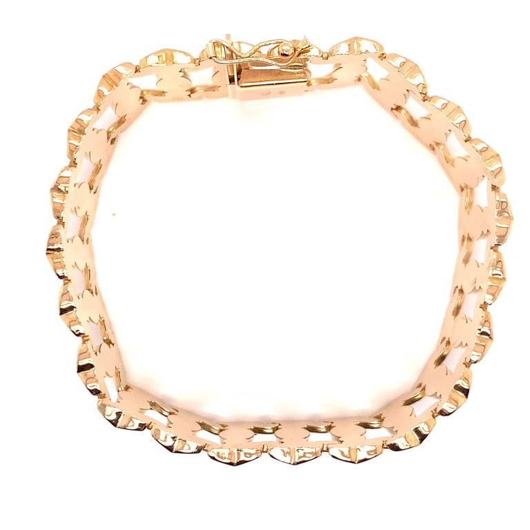 Vintage 1960s 18 Karat Rose Gold Retro Wide Link Bracelet For Sale 3