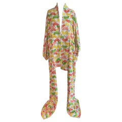Vintage 1960s 1970s Kimono in Yellow, Pink and Green Print