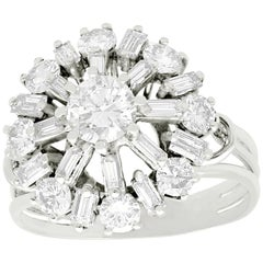 Vintage 1960s 2.00 Carat Diamond and White Gold Ring