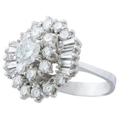 Vintage 1960s 4.10 Carat Diamond and White Gold Cluster Ring