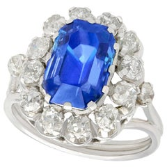 Vintage 1960s 6.53 Carat Sapphire and Diamond White Gold Cocktail Ring
