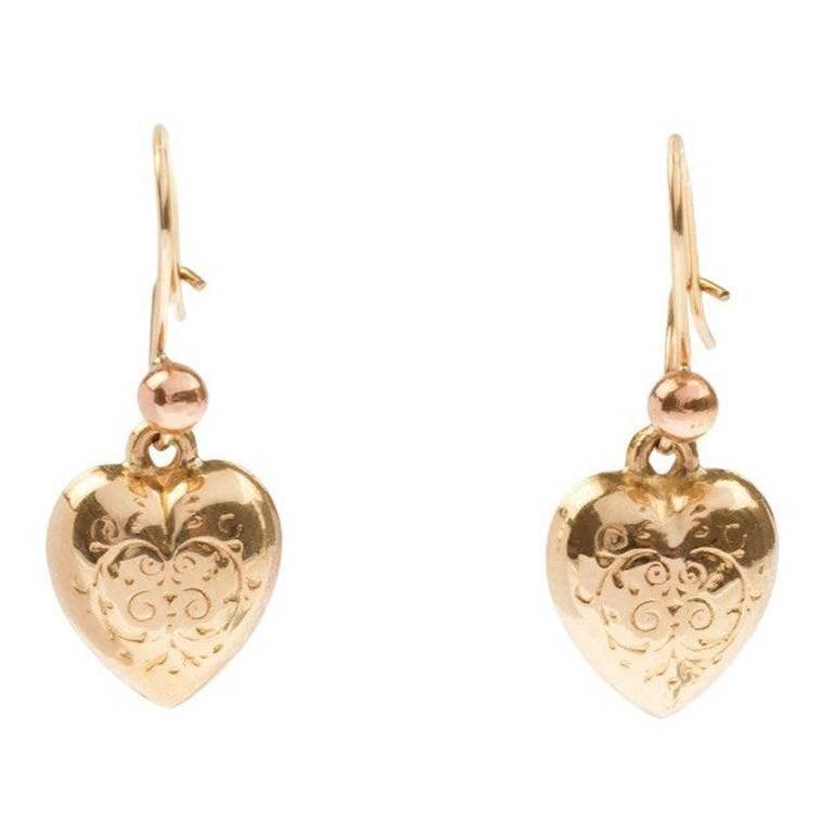 Vintage 1960s 9 Carat Yellow Gold Heart Drop Earrings