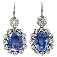 Vintage 1960s 9.4 Ct No Heat Blue Ceylon Sapphire Diamond White Gold Earrings