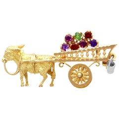 Vintage 1960s Amethyst, Garnet and Peridot Yellow Gold 'Donkey and Cart' Brooch