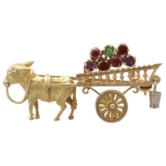 Vintage 1960s Amethyst, Garnet and Peridot Yellow Gold 'Donkey and Cart' Brooch