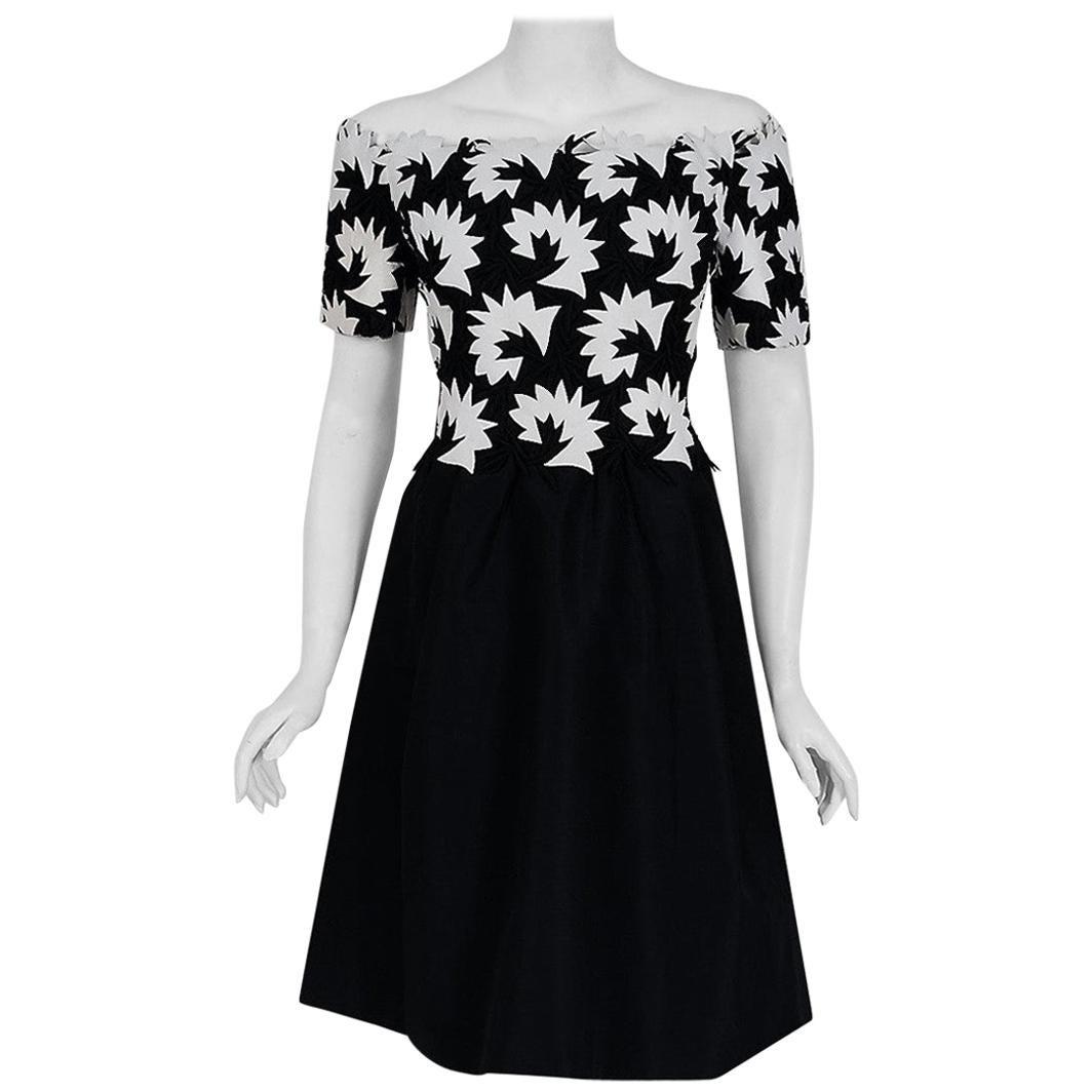 Vintage 1960's Arnold Scaasi Black & White Leather Applique Silk Evening Dress