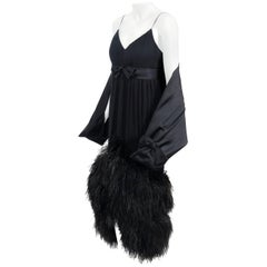Vintage 1960's Bergdorf Couture Black Silk Ostrich Feather Empire Gown w/ Shawl