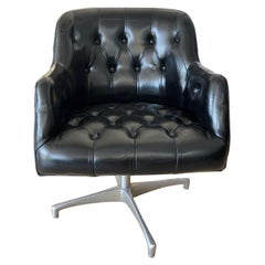 Vintage 1960s Black Leather Swivel Chair by Jens Risom for B.L. Marble Company