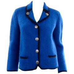 Vintage 1960s Blue & Black Boiled Wool Austrian Thick Wool Jacket