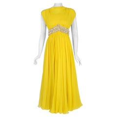 Vintage 1960's Bob Bugnand Bright Yellow Draped Silk Chiffon Beaded Goddess Gown